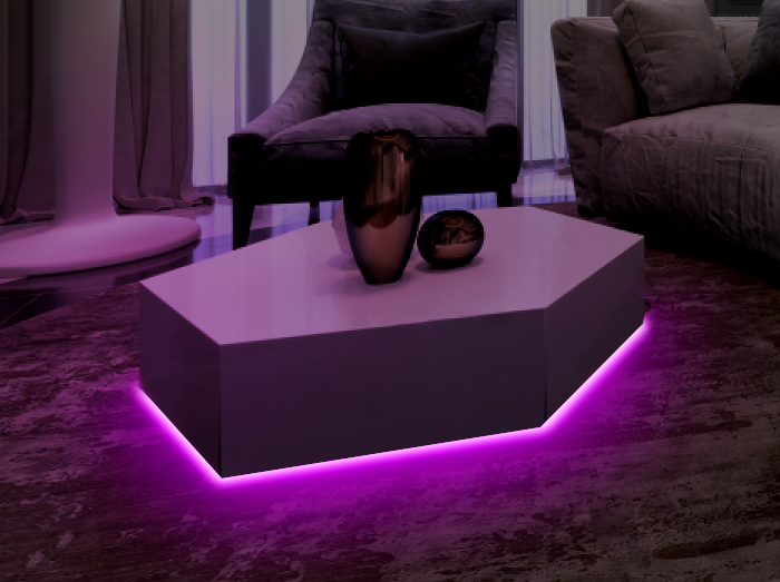 led strip lights under coffee table
