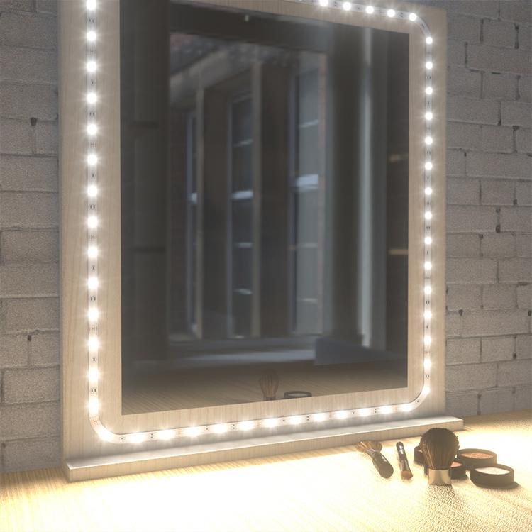 install led strip lights around mirror
