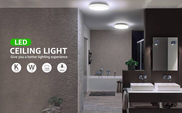 Le Flush Mount Ceiling Light Fixture Waterproof Ip54 Led Lights For Bathroom Porch 8 7 Inch 15w 100w Equivalent 1250lm Non Dimmable