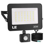 LE 30W LED Flood Light, Motion Sensor Security Light, Outdoor Safety Lighting, Waterproof, 1500 Lumens, 5000K Daylight White, for Yard, Porch, Stairs, Patio and Garage