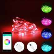 LE iLUX Smart String Lights, 16.4ft 50 LED, RGB Color Changing Fairy Lights, APP Control via Bluetooth, Voice/Music Sync, Indoor Outdoor Twinkle Light for Bedroom, Patio, Wall Décor and More
