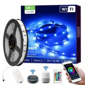 16 ft RGB LED Strip Lights, WiFi Smart, Works wiith Alexa Google Home, SMD 5050 LED Rope Light, App&Remote Controlled, Tape Light for Bedroom, Home and Kitchen