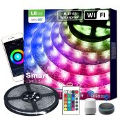 16 ft Waterproof Smart RGB LED Strip Lights, WiFi, Works wiith Alexa Google Home, SMD 5050 LED Rope Light