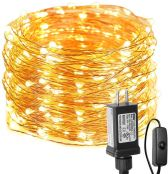 Fairy Lights with Switch, 66ft 200 LED, Plug in, Waterproof, Warm White
