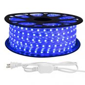 LE 65ft LED Strip Lights, 120 volt, 150W 1200 SMD 5050 LEDs, Waterproof, Flexible, Blue, ETL Listed, Plug in, Indoor Outdoor LED Rope Light for Kitchen, Ceiling, Patio, Under Cabinet Lighting and More