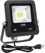 LE Outdoor LED Flood Lights, IP65 Waterproof, 10W 800LM, Daylight White 5000K, 110 Degree Beam Angle, Plug in Security Floodlights for Home, Backyard, Patio, Garden, Tree and More