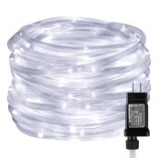 33ft Daylight White Waterproof 100 LED Rop Light, Indoor Outdoor Plug in Light Ropes and Strings with Timer, 8 Lighting Modes