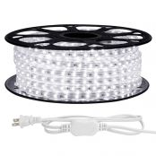 LE 65ft LED Strip Lights, 120 Volt, 95W 1200 SMD 3528 LEDs, Waterproof, Daylight White, ETL Listed, Flexible Indoor Outdoor LED Rope Light for Kitchen, Ceiling, Patio, Under Cabinet Lighting and More