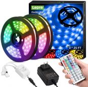 50ft LED Strip Lights with Remote Controller, Ultra-Long RGB 5050 LED Strips, Color Changing Tape Light with 12V ETL Listed Adapter for Bedroom, Room, Kitchen, Bar