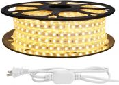 LE 82ft LED Strip Lights, 120 Volt, 189W 1500 SMD 5050 LEDs, Waterproof, Flexible, Warm White, ETL Listed, Indoor Outdoor LED Rope Light for Kitchen, Ceiling, Patio, Under Cabinet Lighting and More