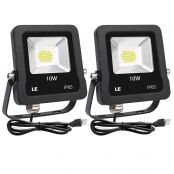 LE Outdoor LED Flood Lights, IP65 Waterproof, 10W 800LM, Daylight White 5000K, 110 Degree Beam Angle, Plug in Security Floodlights for Home, Backyard, Patio, Garden, Tree and More, Pack of 2