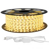 LE 65ft LED Strip Lights, 120 Volt, 95W 1200 SMD 3528 LEDs, Waterproof, Flexible, Warm White, ETL Listed, Indoor Outdoor LED Rope Light for Kitchen, Ceiling, Patio, Under Cabinet Lighting and More