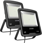 200W 5000K Daylight White LED Flood Light, 16000 Lumen Waterproof Super Bright Security Lights, 600W HPS Equivalent, Pack of 2 Units