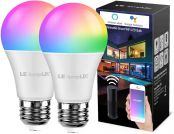 Smart LED Light Bulbs, LampUX WiFi Bulbs, Works with Alexa and Google Home, Color Changing Light Bulbs, Dimmable with App, A19 E26, 60 Watt Equivalent, No Hub Required (Pack of 2)