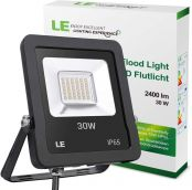 LE Outdoor LED Flood Light, Super Bright, IP65 Waterproof, 30W 2400LM, 75W HPS Equivalent, Warm White 3000K, 100° Beam Angle, Security Light for Home, Backyard, Patio, Garden, Tree and More