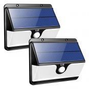 LE 30 LED Solar Powered Lights with Motion Sensor, 2 Optional Lighting Modes, 120 Degree Angle, Daylight White 6500K, 6W 460LM, for Garden, Fence, Yard, Front Door and More, Pack of 2