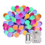 Battery Powered 19.68ft 60 LEDs RGBY LED Globe String Lights with 8 Modes Lighting