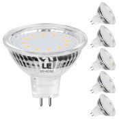 LE MR16 GU5.3 LED Light Bulbs Non Dimmable, Clear Lens, 12V AC/DC, 35W Halogen Equivalent, 5000K Daylight White, 3.5W 350lm, 120 Degree Beam, LED Bulb Replace for Recessed Lighting Spotlight, 5-Pack