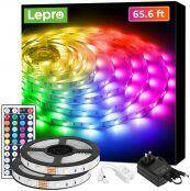 65.6ft LED Strip Lights, Ultra-Long RGB 5050 LED Strips with Remote Controller, Color Changing Tape Light with 12V ETL Listed Adapter for Bedroom, Room, Kitchen, Bar