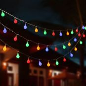 LE Globe String Lights, Plug in Twinkle Light, 33ft 100 LEDs, RGBY Multicolor, 8 Modes, Indoor Outdoor Decorative Fairy Lights for Party, Patio, Gazebo, Room, Festival Decor and More
