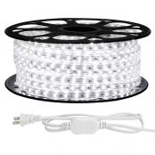 LE 82ft LED Strip Lights, 120 volt, 120W 1500 SMD 3528 LEDs, Waterproof, Daylight White, ETL Listed, Flexible Indoor Outdoor LED Rope Light for Kitchen, Ceiling, Patio, Under Cabinet Lighting and More