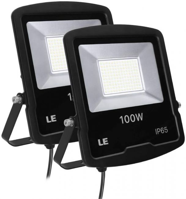 Le 100w Outdoor Led Flood Light 8000 Lumen Security Lights 250w Hps Floodlight Equivalent Waterproof Ip65 Garden Light 5000k Daylight White