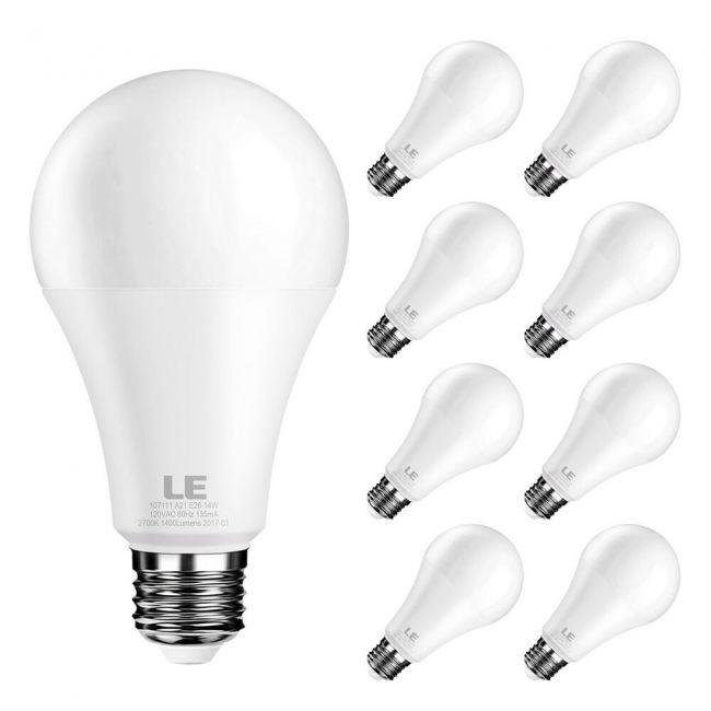 Le A21 Dimmable Led Bulbs 14w 100 Watt Equivalent Light Bulbs 1400lm 2700k Warm White 200 Beam Angle E26 Medium Base Pack Of 8 Units