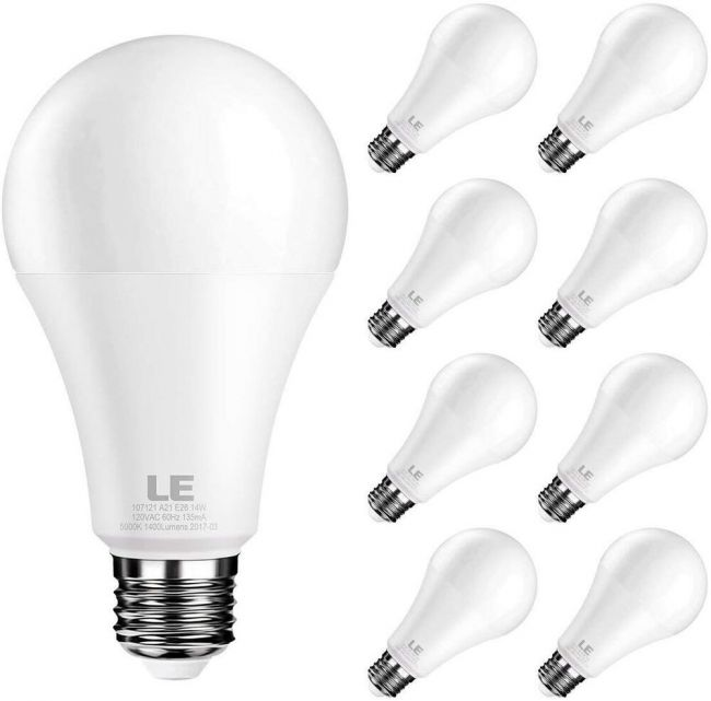 Le Led Light Bulb Replacement For 100w Incandescent Bulb 14 Watt 1400 Lumens High Output 5000k Daylight White Natural Light E26 Medium Base