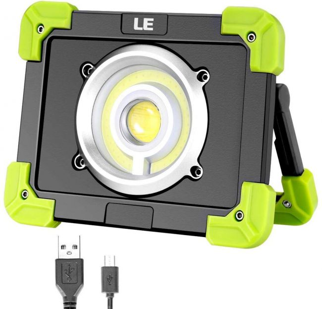Le Portable Led Work Light 20w Rechargeable Outdoor Flood Light 6000mah Power Bank For Hiking Working Car Repairing Workshop And More