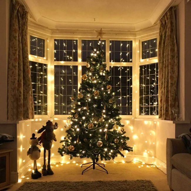 Le 306 Led Curtain Lights 9 8 X 9 8 Ft 8 Modes Plug In Fairy String Lights Warm White Indoor Outdoor Decorative Christmas Twinkle Lights For
