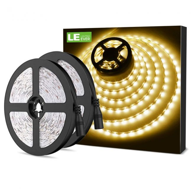 Le 12v Led Strip Light Flexible Smd 2835 300 Leds 16 4ft Tape Light For Home Kitchen Party Christmas And More Non Waterproof Warm White Pack