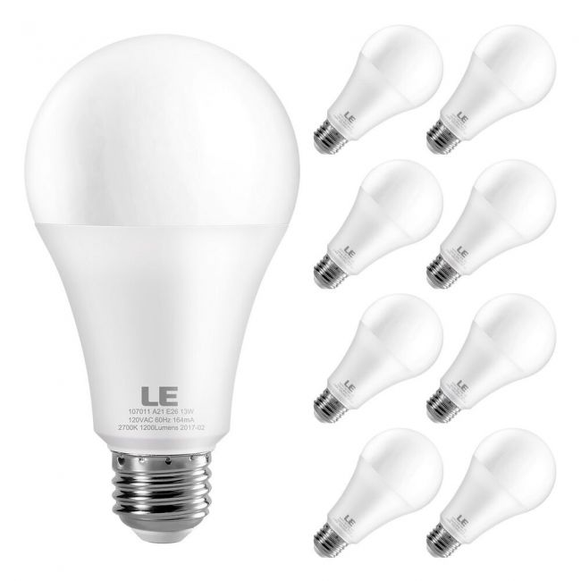 Le A21 Led Light Bulb Replacement For 100w Incandescent Bulb 13 Watt 1200 Lumens High Output 2700k Soft Warm White E26 Medium Base Frosted Big