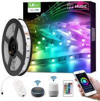 LE Smart LED Strip Lights Works with Alexa Google Home, 16.4ft Music Sync RGB Color Changing, SMD 5050 LED Tape Light, 16 Million Colors LED Lights for Bedroom, Home, Kitchen, TV, Party and Festival