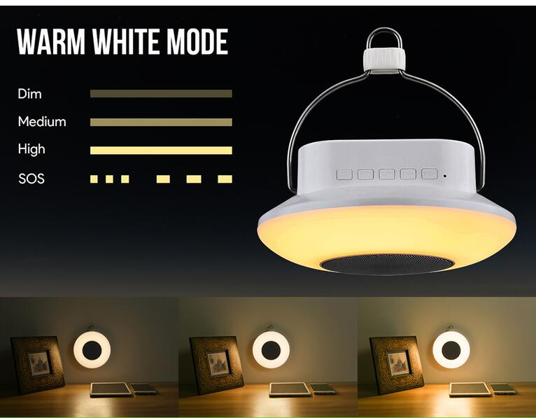 Dimmable Portable Bluetooth Speaker Night Light for camping