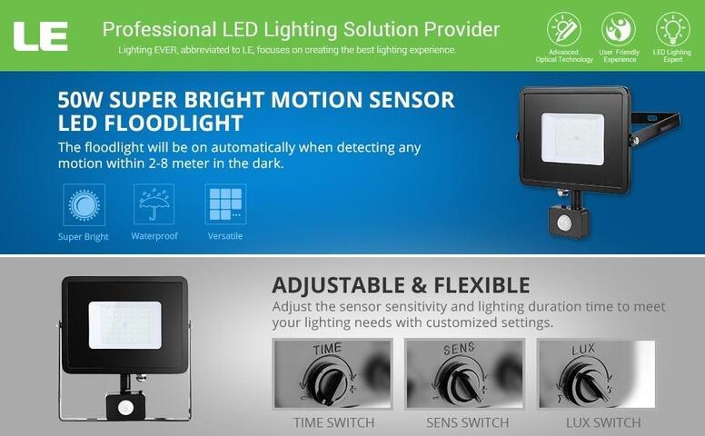 50w motion sensor led flood light