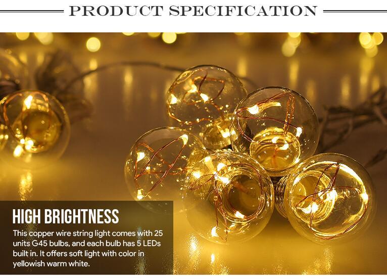 LED Globe Copper Wire String Lights G45 Bulbs For Garden