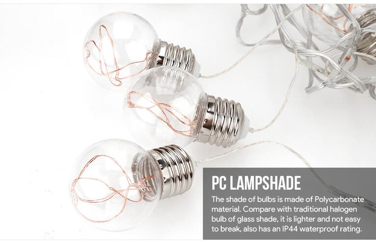 Warm White LED Globe Copper Wire String Lights Indoor Outdoor Patio