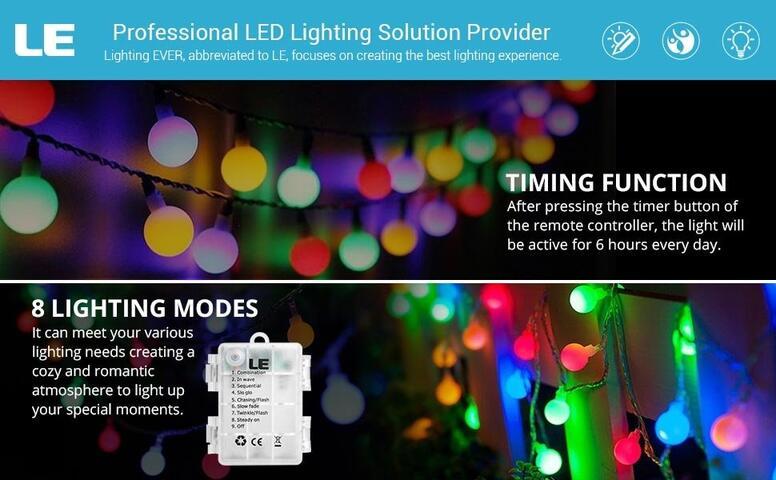 16.4ft multi-color globe string lights